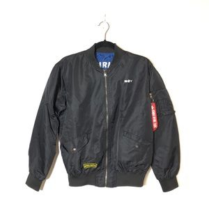 Youth's Black Bomber Jacket Size L